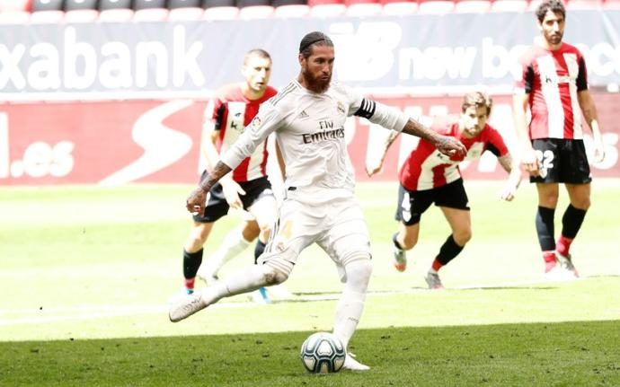 Athletic Bilbao – Real Madrid   0-1   Rigore dubbio di Ramos, il Real resta al TOP